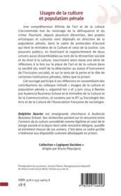 Usages de la culture et population pénale - 4ème de couverture - Format classique