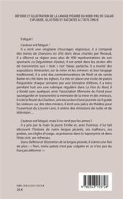 Défense et illustration de la langue picarde du Nord-Pas-de-Calais expliquée illustrée et racontée à l'Tiote Emilie - 4ème de couverture - Format classique