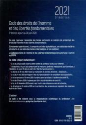 Code des droits de l'homme et des libertés fondamentales (édition 2021) - 4ème de couverture - Format classique