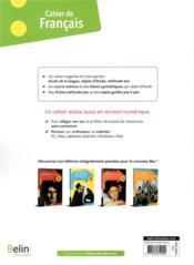 Cahier de francais 1re générale ; cahier élève (édition 2020) - 4ème de couverture - Format classique