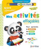 Bravo les maternelles ! ; mes activités effaçables ; petite section (édition 2021) - Couverture - Format classique