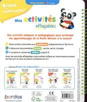 Bravo les maternelles ! ; mes activités effaçables ; petite section (édition 2021) - 4ème de couverture - Format classique