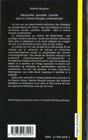Marginalite Sexualite ; Controle Dans Le Cinema Francais Contemporain - 4ème de couverture - Format classique
