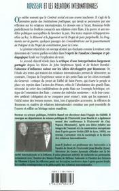 Rousseau Et Les Relations Internationales - 4ème de couverture - Format classique