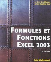 Formules et fonctions excel 2003 - Intérieur - Format classique
