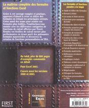 Formules et fonctions excel 2003 - 4ème de couverture - Format classique