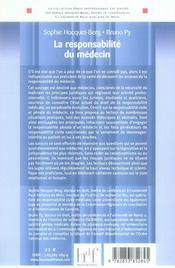 La responsabilité du médecin - 4ème de couverture - Format classique