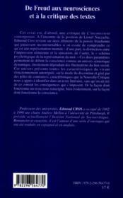 De Freud au neurosciences et à la critique des textes - 4ème de couverture - Format classique