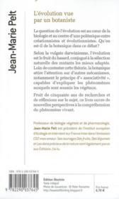 L'évolution vue par un botaniste - 4ème de couverture - Format classique