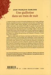 Une guillotine dans un train de nuit - 4ème de couverture - Format classique