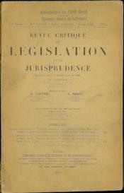 REVUE CRITIQUE DE LÉGISLATION ET DE JURISPRUDENCE publiée sous le patronage de Ch. Lyon-Caen H. Capitant et G. Ripert; t. LIII, 1933 - Couverture - Format classique
