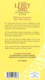 Le guide Lebey des restaurants de Paris (édition 2002) - 4ème de couverture - Format classique