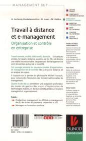 Travail à distance et management ; organisation et contrôle - 4ème de couverture - Format classique