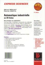 Automatique industrielle en 20 fiches (2e édition) - 4ème de couverture - Format classique