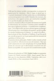La société des affects ; pour un structuralisme des passions - 4ème de couverture - Format classique