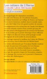 Claude Lévi-Strauss - 4ème de couverture - Format classique