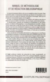 Manuel de méthodologie et de rédaction bibliographique - 4ème de couverture - Format classique