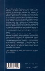 Hector Malot ; la morale et le droit - 4ème de couverture - Format classique