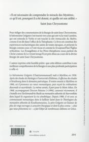 La divine liturgie de saint Jean Chrysostome - 4ème de couverture - Format classique