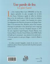 Le père Carré, une parole de feu - 4ème de couverture - Format classique
