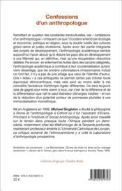 Confessions d'un anthropologue - 4ème de couverture - Format classique