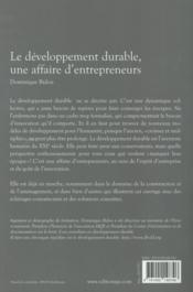 Le développement durable, une affaire d'entrepreneurs - 4ème de couverture - Format classique