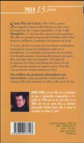 Prier 15 jours avec... ; Sainte Rita - 4ème de couverture - Format classique