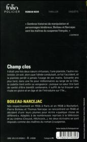 Champ clos - 4ème de couverture - Format classique
