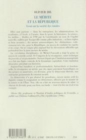 Le mérite et la République ; essai sur la societe des émules - 4ème de couverture - Format classique