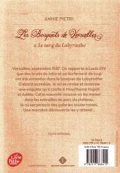 Les bosquets de Versailles T.2 ; le sang du labyrinthe - 4ème de couverture - Format classique