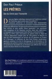 Les prêtres, dons du Christ pour l'humanité ; réflexions sur le sacerdoce en temps de crise - 4ème de couverture - Format classique