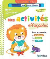 Bravo les maternelles ! ; mes activités effaçables ; moyenne section - Couverture - Format classique
