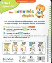 Bravo les maternelles ! ; mes activités effaçables ; moyenne section - 4ème de couverture - Format classique