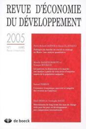 Revue D'Economie Du Developpement N.1 - Couverture - Format classique