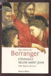 L'évangile selon saint jean ; une lectio divina - Couverture - Format classique