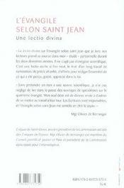 L'évangile selon saint jean ; une lectio divina - 4ème de couverture - Format classique
