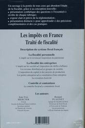Impots En France 2000-2001 ; Traite De Fiscalite - 4ème de couverture - Format classique