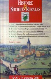 Revue Histoire Et Societes Rurales T.27 - Intérieur - Format classique