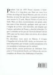 Marcel Proust Sur Les Alpes - 4ème de couverture - Format classique