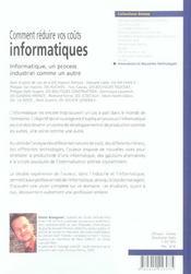 Comment Reduire Vos Couts Informatiques - 4ème de couverture - Format classique