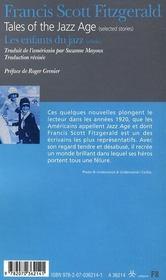 Les enfants du jazz ; tales of the jazz age - 4ème de couverture - Format classique