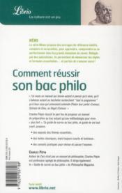 Comment réussir son bac philo - 4ème de couverture - Format classique