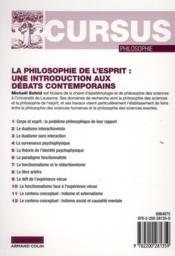 La philosophie de l'esprit ; une introduction aux débats contemporains (2e édition) - 4ème de couverture - Format classique