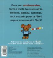 L'anniversaire de Tomi - 4ème de couverture - Format classique