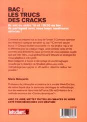 Bac : les trucs des cracks ; leurs meilleurs conseils pour décrocher une mention - 4ème de couverture - Format classique