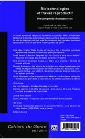 Biotechnologies et travail reproductif ; une perspective transnationale - Couverture - Format classique