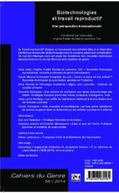 Biotechnologies et travail reproductif ; une perspective transnationale - 4ème de couverture - Format classique