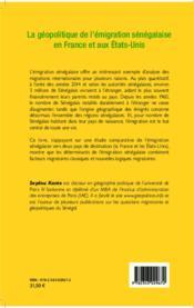La géopolitique de l'émigration sénégalaise en France et aux Etats-Unis - Couverture - Format classique