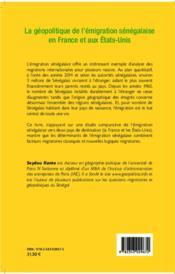 La géopolitique de l'émigration sénégalaise en France et aux Etats-Unis - 4ème de couverture - Format classique