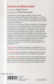 Science et démocratie ; colloque 2013 - 4ème de couverture - Format classique